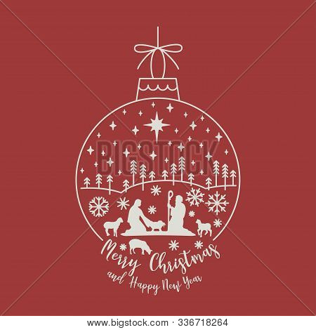 Circle New Year Linear Ball With Christmas Scene. Mary And Joseph With Baby Jesus Silhouette. On Red