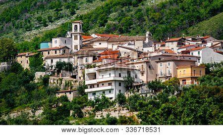Italian Village Posta Fibreno Nature Reserve At The Border Of The National Park Of Abruzzo,lazio And