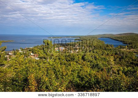 Copper Harbor Michigan. Aerial View Of The Small Coastal Town Of Copper Harbor As Seen From The Broc