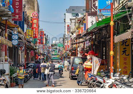 Taipei, Taiwan - Nov 12, 2019 : Dihua Street Market, Famous Tourist Attraction, People Can Seen Walk