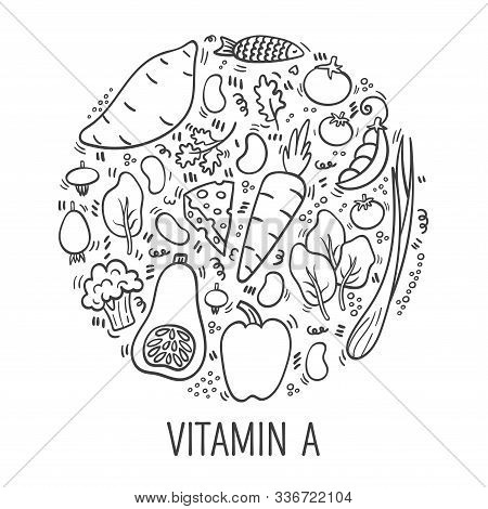 Vitamin A Doodle Outline Illustration In Circle. Hand Drawn Illustration Of Different Food Rich Of V