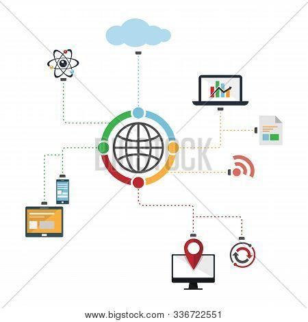 Big Data Analytics Ecosystem. Internet Ecosystem Data Transfer Analytics Design Image Vector Illustr