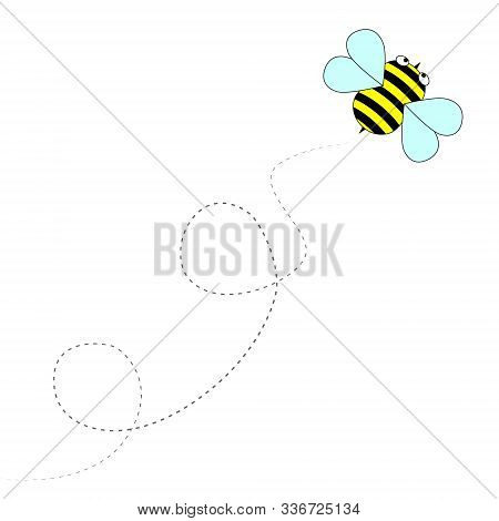 Friendly Cute Bee Flying And Smiling. Bumblebee