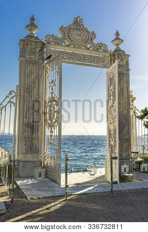 Istanbul, Turkey - November 9, 2019: Gate To The Bosphorus At Dolmabahce Palace In Istanbul, Turkey.