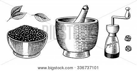 Black Pepper Set In Vintage Style. Mortar And Pestle, Allspice Or Peppercorn, Mill And Dried Seeds.