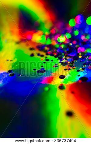 Holographic, Goniochromism Macro Rainbow Texture. Ligh Leaks, Disco Illumination Effect. Abstract Ba