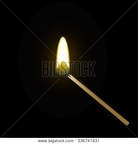 Realistic Burning Match On White And Black Background. Vector.