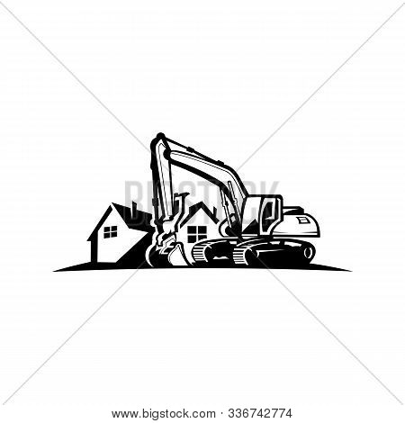 Excavation Work Logo Design,excavator Or Building Machine Rental Organisation Print Stamps, Construc