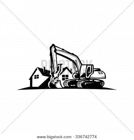 Excavation Work Logo Design,excavator Or Building Machine Rental Organisation Print Stamps, Construc