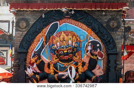 Kal Bhairav Statue At Durbar Square In Kathmandu, Nepal. Hindu Tantric Deity Worshiped By Hindus. In