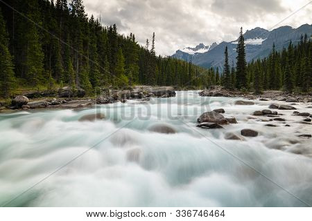 Image Of The Raging Current On Mistaya Canyon, Banff National Park, Icefield Parkway, Alberta, Canad