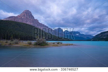 Panoramic Image Of The Waterfowl Lakes, Banff National Park, Icefield Parkway, Alberta, Canada