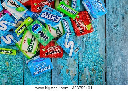 New York Ny Nov 29 2019: Various Chewing Gums Brands Orbit, Extra, Eclipse, Freedent, Wrigley, Spear