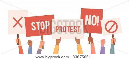 People Protest. Hands Holding Posters. People With Posters Protest. Collection Of Hands Holding Empt