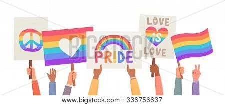 Lgbt And Gay Parade, Protest. Hands Holding Posters. Collection Of Hands Holding Flags And Signs Lgb