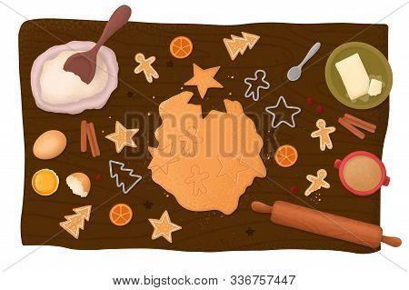 Ingredients For Baking Christmas Cookies. Preparing Cookies. Homemade Gingerbread Cookies With Ingre