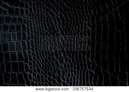 Black Crocodile Leather Texture With For Background