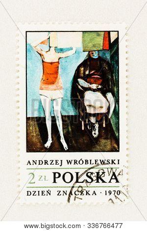Seattle Washington - October 9, 2019: Polish Postage Stamp With Oil Painting Of Andrzej Wroblewski,