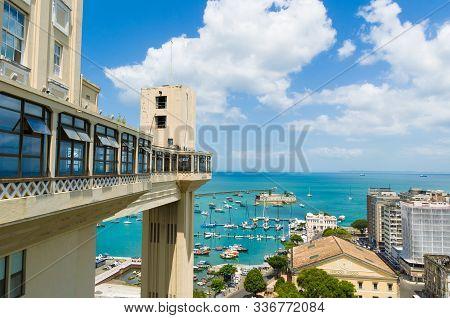 View Of The Lacerda Elevator And The Todos Os Santos Bay In Salvador, Bahia, Brazil.