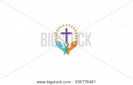 Christian Church Praying Cross Logo Icon Vector Symbol Simple