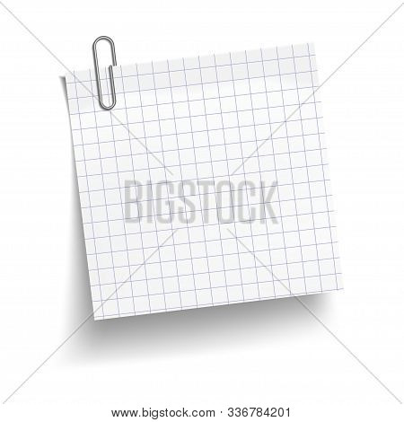 Chequered White Sheet Of Paper With Metal Paper Clip. Metal Paper Clip Attached To Paper. Vector Ill
