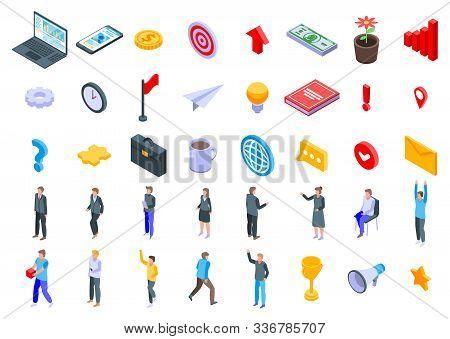 Entrepreneur Icons Set. Isometric Set Of Entrepreneur Vector Icons For Web Design Isolated On White