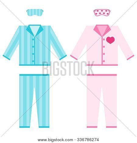 Pajamas. A Set Of Pajamas With A Sleep Mask. Mens And Womens Pajamas. Vector Illustration.