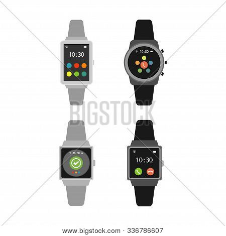 Smart Watch Icons, Logo Watches, Design Watches, Vector Illustration Of A Flat Design Smart Watch On