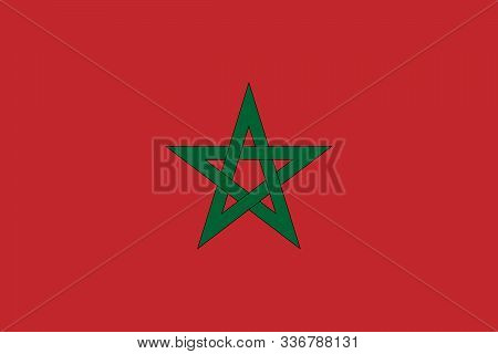 Morocco National Flag Vector Graphics Illustration. Great For Badge, Sticker, Label, Icon, Button Et