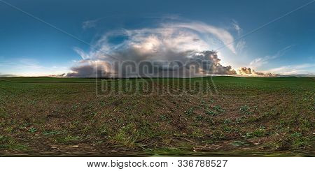 Full Seamless Spherical Hdr Panorama 360 Degrees Angle View Among Fields With Awesome Black Clouds B