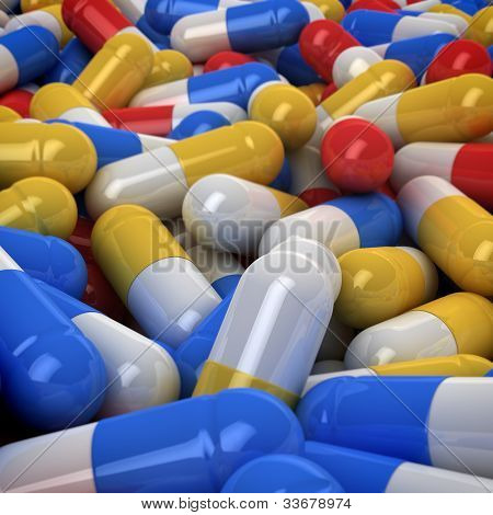 Multicolored medical capsules background, 3d computer graphic poster