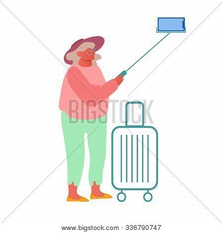 Old Woman Making Selfie On Smartphone Isolated On White E Background. Elderly Lady Saving Sweet Life