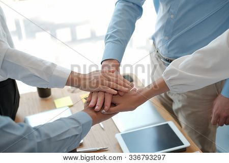 Businessman Businesswoman Joining United Hand, Business Team Touching Hands Together. Unity Teamwork