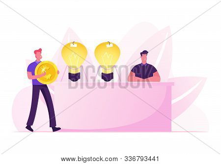 Businessman With Huge Golden Coin In Hands Coming To Desk With Inventor Sitting Near Glowing Light B