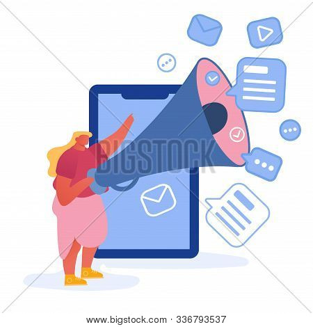 Online Public Relations And Affairs Concept. Woman Stand At Huge Smartphone Shouting To Megaphone. A