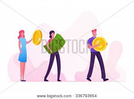 Group Of People Stand In Queue Holding Huge Golden Coins And Dollar Banknotes Going To Buy Something