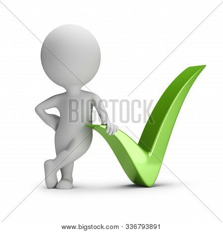 3d Small Person Next To The Green Check Mark. 3d Image. White Background.
