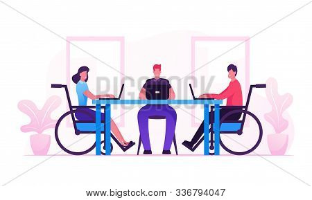 Handicapped Employees And Healthy Office Worker Sitting At Desk Working On Laptops And Communicate W