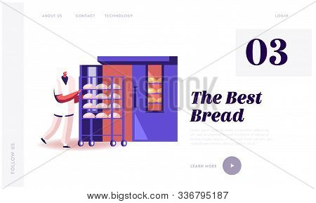 Bakehouse Factory, Website Landing Page. Worker In White Robe And Hat Rolling Trolley With Raw Loafs