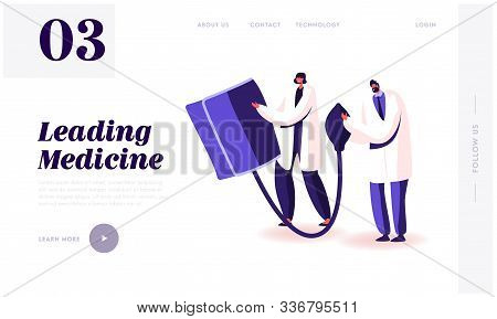 Checking Arterial Pressure Healthcare Website Landing Page. Doctors Hold Huge Digital Device Tonomet