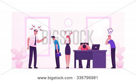 Angry Furious Boss Character Yelling At Office Employees. Worker Sitting At Desk With Computer And D