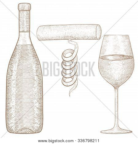 Bottle And Glass Of Wine With Corkscrew. Hand Drawn Sketch. Vector Illustration Isolated On White Ba