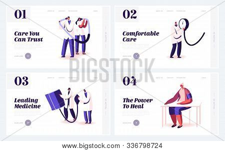 Doctor And Patient Measuring Blood Pressure Website Landing Page Set. Medical Treatment And Healthca