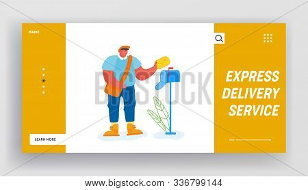 Post Office Employee Delivering Mailing To People Website Landing Page. Man Postman With Bag On Shou