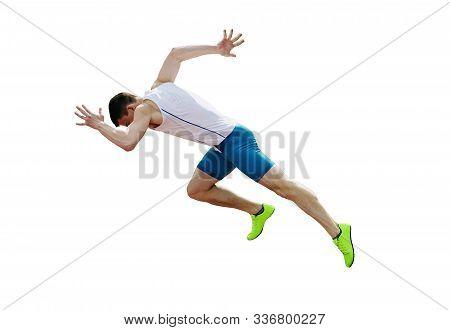 Start Run Sprint Male Athlete Runner Isolated On White Background