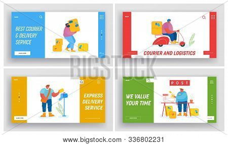 Post Office Employees Website Landing Page Set. Mailman Occupation And Work. Postman Delivering Mail