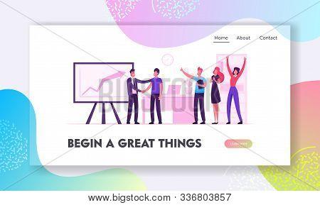 Happy Employees In Workplace Celebrating Business Success Website Landing Page. Joyful Office Worker