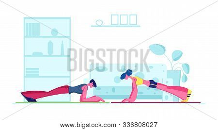 Young Fit Sporty Woman And Man Doing Plank At Home. Family Couple Hard Difficult Fitness Exercise Or