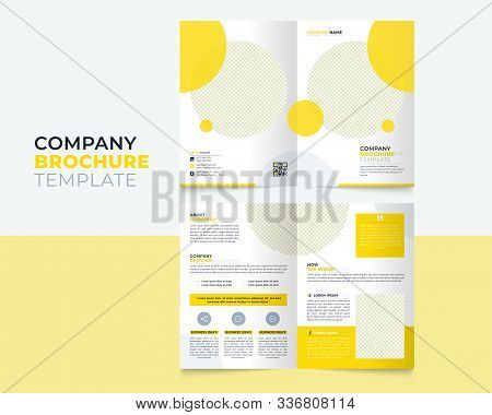 Corporate Bi Fold Brochure Design With Round Shapes, Corporate Business Template For Bi Fold Flyer.