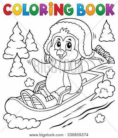 Coloring Book Penguin On Bobsleigh 1 - Eps10 Vector Picture Illustration.